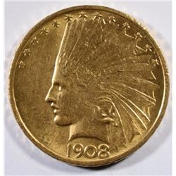 1908 $10.00 GOLD INDIAN NO MOTTO BU