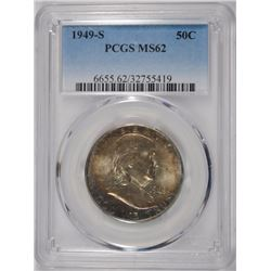 1949-S FRANKLIN HALF DOLLAR, PCGS MS-62   BETTER DATE  NICE TONING