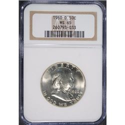 1960-D FRANKLIN HALF DOLLAR, NGC MS-65 GEM