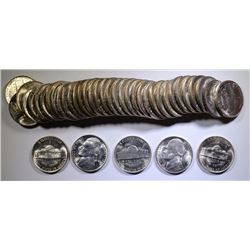 GEM BU ROLL OF 1944-P JEFFERSON SILVER WAR NICKELS