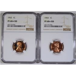 1962 & 1964 LINCOLN CENTS NGC PF-68* ( STAR ) RED