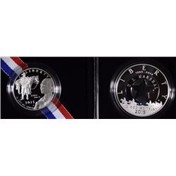 2015 U.S MARSHALS SILVER PROOF DOLLAR & PROOF CLAD HALF - ORIGINAL BOX/COA's