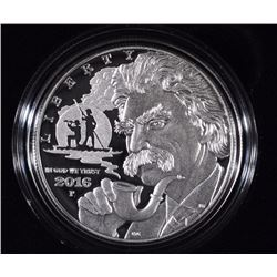 2016 MARK TWAIN PROOF SILVER DOLLAR - BOX/COA