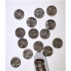 1947 JEFFERSON NICKEL BU ROLL - 40 COINS