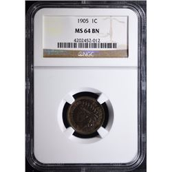 1905 INDIAN HEAD CENT - NGC MS 64 BN