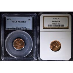 2 - LINCOLN CENTS; 1936-S NGC MS65 RD &  1939 PCGS MS66 RD