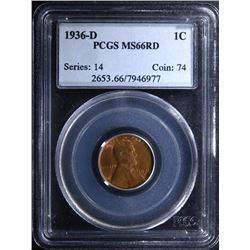1936-D LINCOLN CENT - PCGS MS66 RD