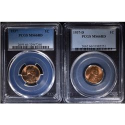 1937 & 1937-D LINCOLN CENTS - BOTH PCGS MS 66 RD