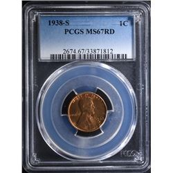1938-S LINCOLN CENT - PCGS MS67 RD