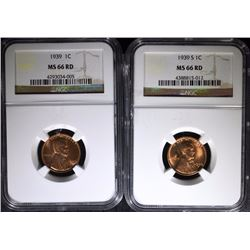 1939 & 1939-S LINCOLN CENTS - BOTH NGC MS 66 RD