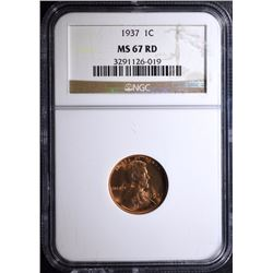 1937 LINCOLN CENT - NGC MS 67 RD