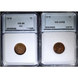 2 - 1919 LINCOLN CENTS - BOTH NNC GEM BU