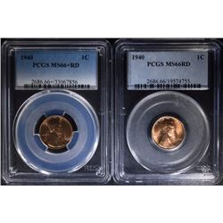 2 - 1940 LINCOLN CENTS - PCGS MS66+ RD & MS66RD - BOTH VERY NICE