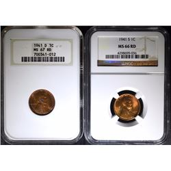 1941-D LINCOLN CENT NGC MS 67 RD & 1941-S LINCOLN CENT NGC MS 66 RD