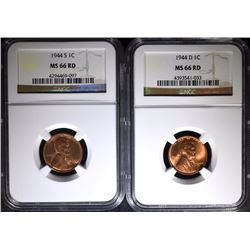 2 - NGC MS 66 RD LINCOLN CENTS; 1944-S & 1944-D