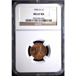 1945-D LINCOLN CENT - NGC MS 67 RD