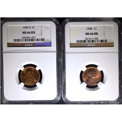 1948 LINCOLN CENT NGC MS 66 RB & 1945-D LINCOLN CENT NGC MS 66 RD