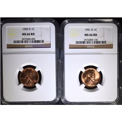 2 - NGC MS66 RD LINCOLN CENTS; 1950-D & 1951-D
