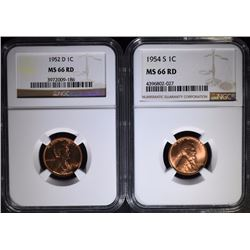 2 - NGC MS66 RD LINCOLN CENTS; 1952-D & 1954-S