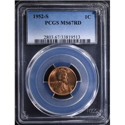1952-S LINCOLN CENT - PCGS MS67 RD
