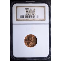 1953-S LINCOLN CENT - NGC MS 67RD