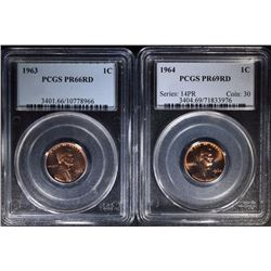 2 - PROOF LINCOLN CENTS; 1963 PCGS PR66RD & 1964 PCGS PR69RD