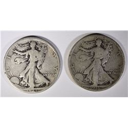 1916 & 1921-S WALKING LIBERTY HALF DOLLARS,  GOOD