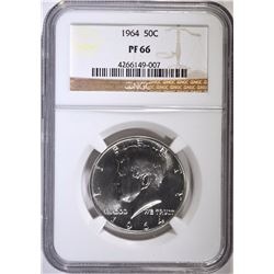 1964 KENNEDY HALF DOLLAR NGC PROOF 66