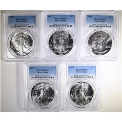( 5 ) 1987 AMERICAN SILVER EAGLES, PCGS MS-69