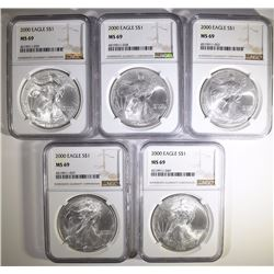 ( 5 ) 2000 AMERICAN SILVER EAGLES, NGC MS-69