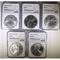 ( 5 ) 2001 AMERICAN SILVER EAGLES, NGC MS-69