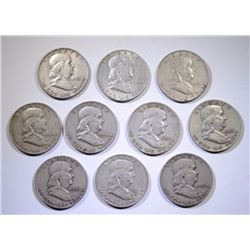 10 DIFFERENT ( $5.00 FACE VALUE ) 90% FRANKLIN HALF DOLLARS 1963 AND EARLIER