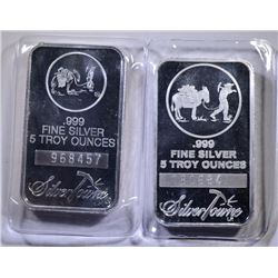 ( 2 ) FIVE OUNCE .999 SILVER BARS SILVER TOWNE PROSPECTOR