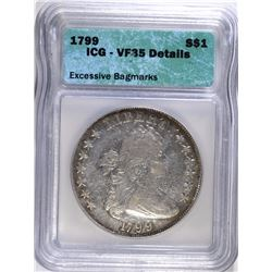 1799 BUST DOLLAR, ICG VF-35 ABOUT XF