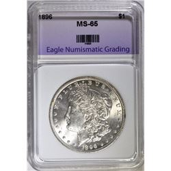 1896 MORGAN SILVER DOLLAR, ENG GEM BU