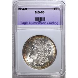 1904-O MORGAN SILVER DOLLAR, ENG GEM BU