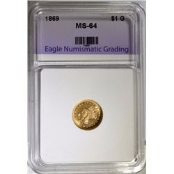 1869 $1.00 GOLD INDIAN PRINCESS, ENG CH/GEM BU