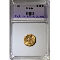 1902 $2.50 GOLD INDIAN, ENG CH/GEM BU