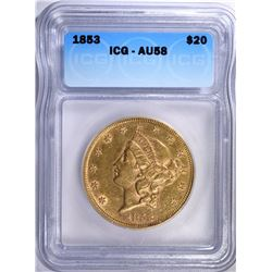 1853 $20.00 GOLD LIBERTY, RARE TYPE-1  ICG AU-58