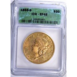 1865-S $20.00 GOLD LIBERTY, ICG EF-45  LOOKS AU!  TOUGH CIVIL WAR DATE