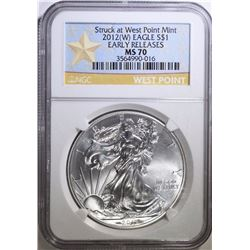 2012-(W) AMERICAN SILVER EAGLE, NGC MS-70 EARLY RELEASES