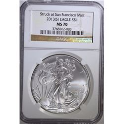2013-(S)  AMERICAN SILVER EAGLE, NGC MS-70