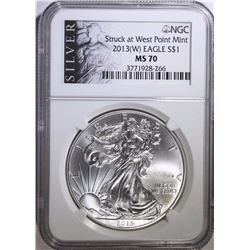 2013-(W) AMERICAN SILVER EAGLE, NGC MS-70