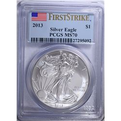 2013 AMERICAN SILVER EAGLE, PCGS MS-70 FIRST STRIKE
