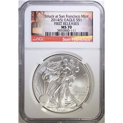 2014-(S) AMERICAN SILVER EAGLE, NGC MS-70 FIRST RELEASES
