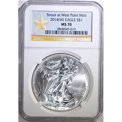 2014-(W) AMERICAN SILVER EAGLE, NGC MS-70