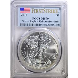 2016 AMERICAN SILVER EAGLE, PCGS MS-70 FIRST STRIKE