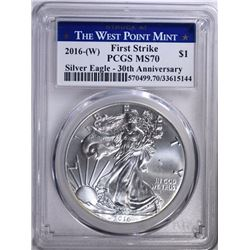 2016-(W) AMERICAN SILVER EAGLE, PCGS MS-70 FIRST STRIKE 30th ANNIVERSARY