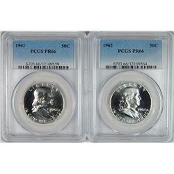 2 - 1962 FRANKLIN HALF DOLLARS - BOTH PCGS PR66!