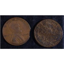"""1942 MINT ERROR CLIPPED LINCOLN CENT & """" MAN MADE""""  ( 2 TALES)  WHEAT CENT"""